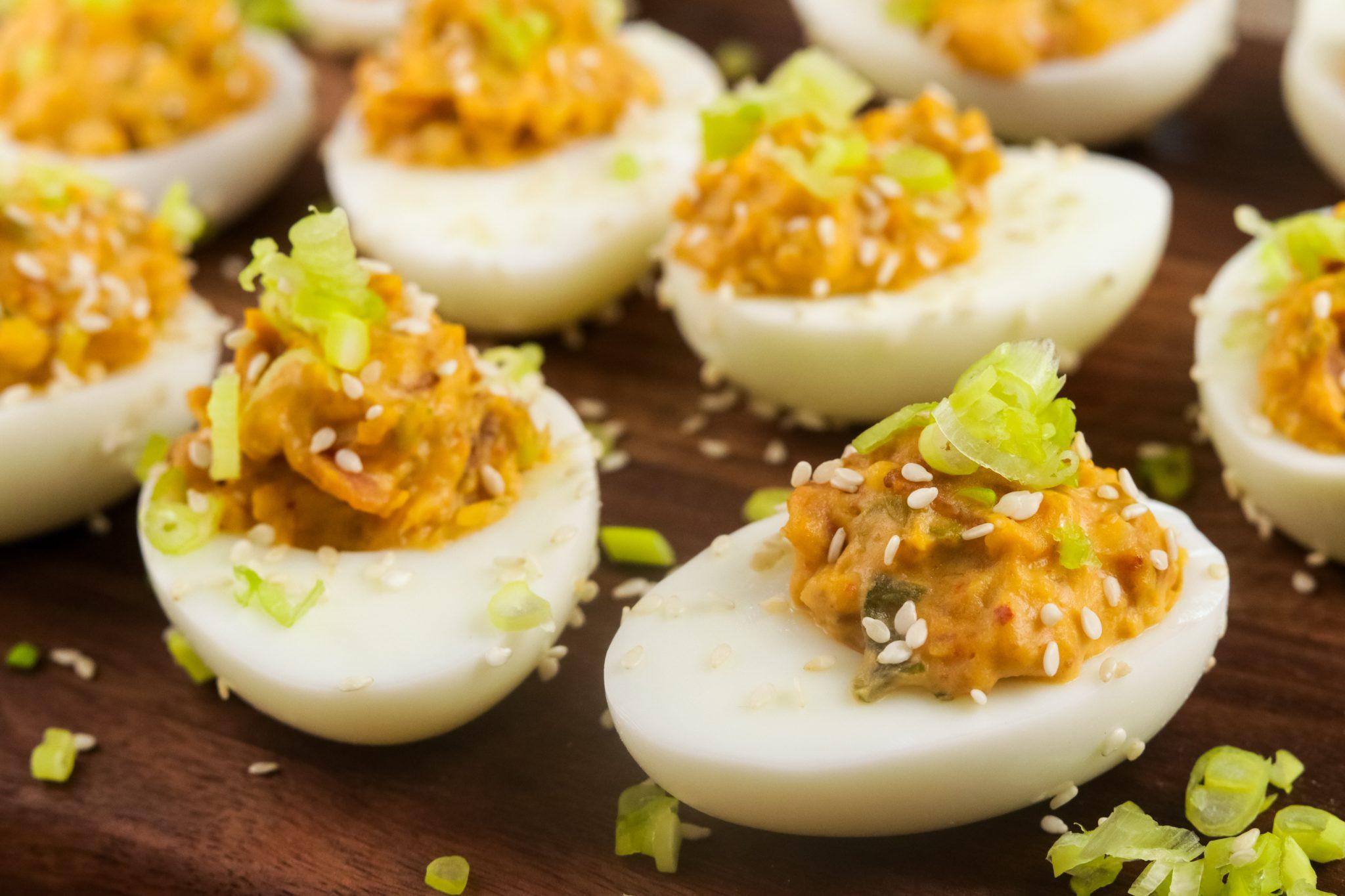 Ketogenic Recipes: Bacon and Kimchi Deviled Eggs