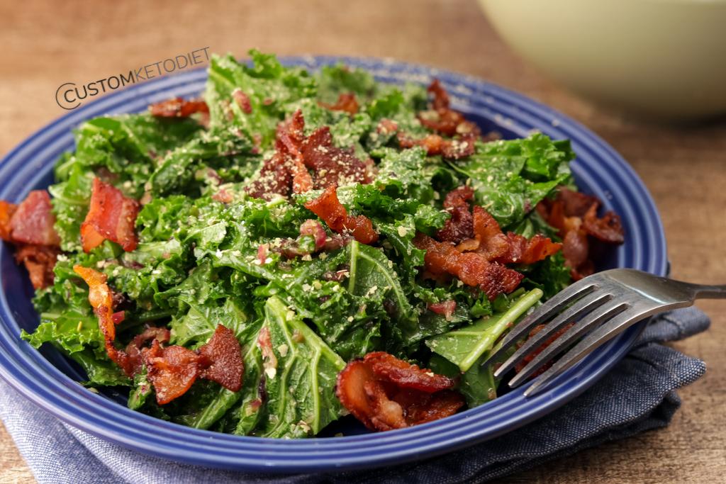 Easy Keto Recipes: Keto Warm Kale Salad in Bacon Vinaigrette