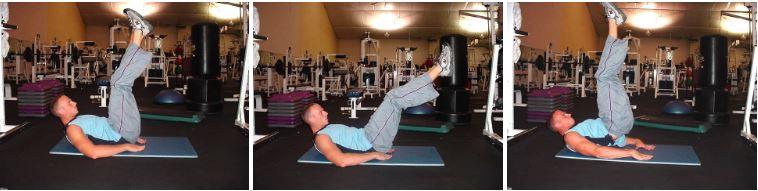 fun workout games - lying leg thrusts